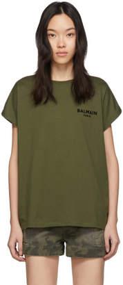 Balmain Khaki Flocked Logo T-Shirt