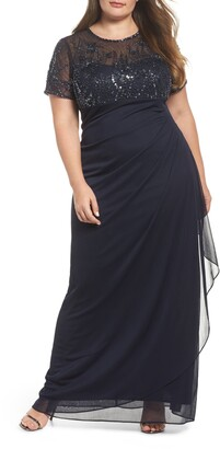 Xscape Evenings Ruched Beaded Gown