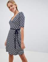 Gilli Printed Wrap Front Skater Dress With Tie Belt