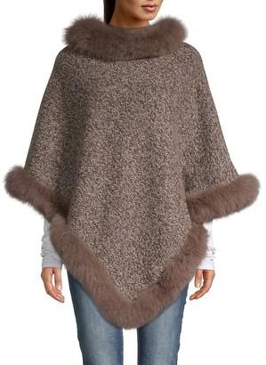 La Fiorentina Tweed Fox Fur-Trimmed Poncho
