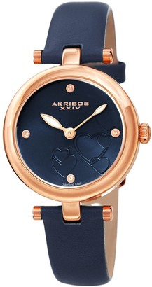 Akribos XXIV Ladies Diamond Heart Barbell Lugs Blue Leather Strap Watch