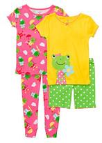 Carter's Girls' 12M-4T Pink/Yellow/Green 4-pc. Frog Pajama Set