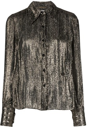 Saint Laurent Metallic Long-Sleeve Shirt
