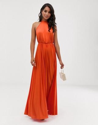 Asos Design DESIGN halter pleated waisted maxi dress-Orange