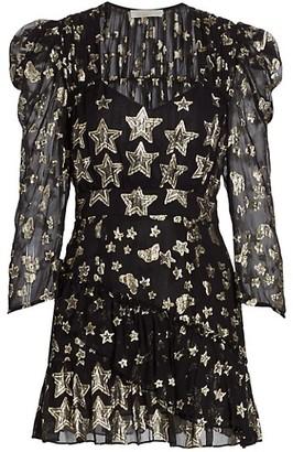 LoveShackFancy Caden Metallic Star Puff-Sleeve Mini Dress