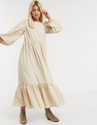 Asos Design DESIGN casual cotton maxi dress with puff sleeves in stone-Beige