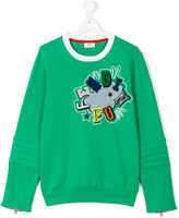 Fendi Kids Fun patch sweatshirt - kids - Cotton/Polyester/Spandex/Elastane - 14 yrs