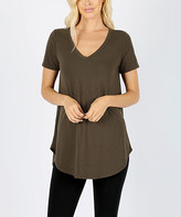 42pops 42POPS Women's Tee Shirts DK.OLIVE_IPB - Dark Olive V-Neck Short-Sleeve Curved-Hem Tunic - Plus