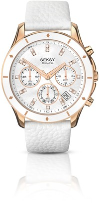Sekonda Seksy Women's Quartz Watch with Mother of Pearl Dial Analogue Display and White Leather Strap 2212.37