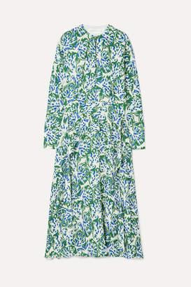Victoria Victoria Beckham Victoria, Victoria Beckham - Ruffled Printed Crepe Midi Dress - Green