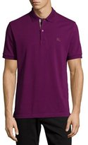 Burberry Check-Placket Piqué Polo Shirt, Amethyst