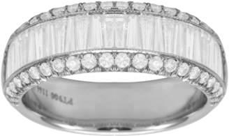 Platinum 1.98ct 3 Row Diamond Baguette Cut Eternity Ring - Size M.5