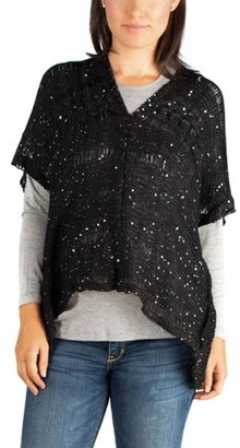24/7 Comfort Apparel 24seven Comfort Apparel Maternity Sparkly Poncho Dolman Sheer Sweater Top