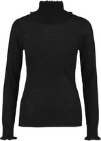 Goat Cindy ruffle-trimmed stretch-knit sweater