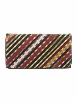 Bottega Veneta Striped Fold-Over Clutch multicolor