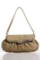 Treesje Beige Leather Ruffle Trim Round Structured Small Clutch Wristlet Bag