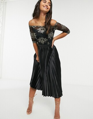 Chi Chi London contrast lace & satin midi dress in black
