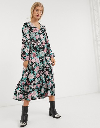 Only midi smock dress with ruffle detail in floral print