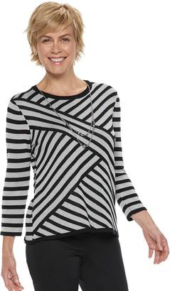 Alfred Dunner Women's Studio Diagonal Striped Lurex Sweater