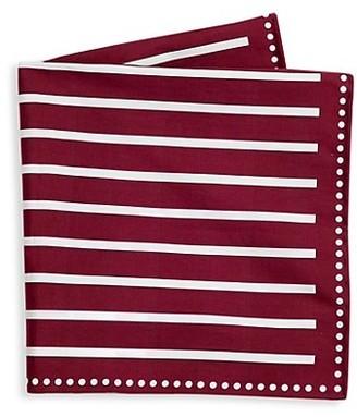 Brunello Cucinelli Dot Border Striped Pocket Square