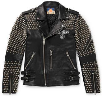 Blackmeans Studded Logo-Print Leather Biker Jacket