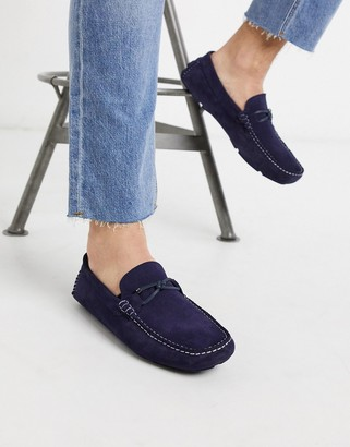 Ted Baker cottn driving shoes in navy suede