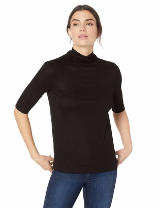 Lark & Ro Amazon Brand Women's Elbow Length Sleeve Turtle Neck Shirt