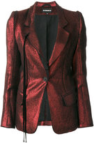 Ann Demeulemeester metallic fitted blazer - women - Cotton/Linen/Flax/Nylon/Virgin Wool - 36