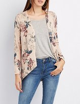 Charlotte Russe Floral Hacci Longline Cardigan