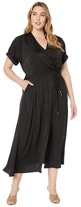 Karen Kane Plus Plus Size Cuffed Sleeve Dress (Black) Women's Clothing