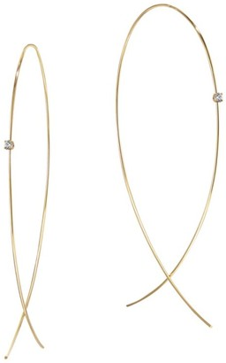 Lana 14K Yellow Gold & Diamond Large Wire Upside Down Hoops
