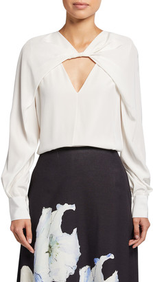 Jason Wu Collection Twisted Front Cutout Silk Blouse