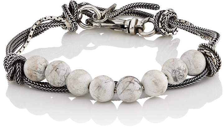 Emanuele Bicocchi Men's White Marble Beaded Bracelet
