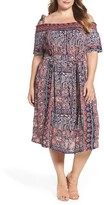 Lucky Brand Plus Size Women's Print Knit Off The Shoulder Dress