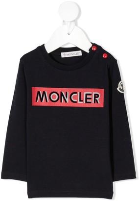 Moncler Enfant Logo-Print Crew Neck Top