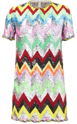 Ashish Sequined Chevron-stripe Mini Dress - Multi