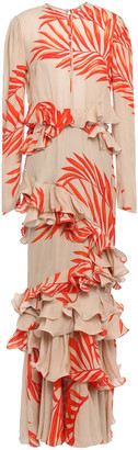 Johanna Ortiz California Dreaming Ruffled Tiered Printed Silk-crepe Gown