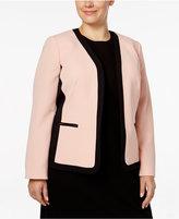 Kasper Plus Size Open-Front Colorblocked Jacket