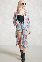 Forever 21 FOREVER 21+ Longline Rose Print Kimono