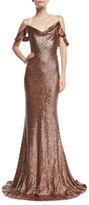 Rachel Zoe Cecilia Metallic Strappy-Back Puddle-Hem Gown