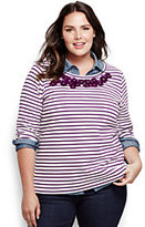Classic Women's Plus Size 3/4 Sleeve Embroidered Ponte Top Navy Stripe