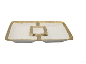Classic Touch Porcelain Chip N Dip Bowl with Border