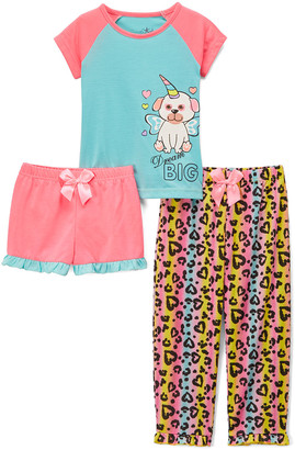 Freestyle Revolution Girls' Sleep Bottoms Uni-Pup - Blue & Coral Uni-Pup 'Dream Big' Three-Piece Pajama Set - Girls