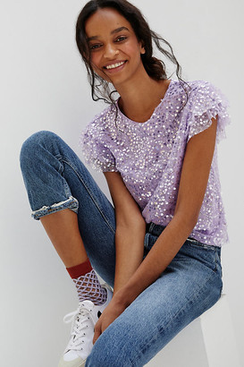 Anthropologie Pamela Sequined Blouse By in Purple Size L