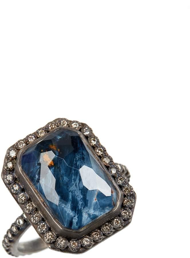 Armenta Old World Midnight Emerald-Cut Quartz & Diamond Ring