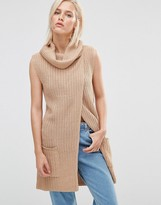Brave Soul Roll Neck Open Front Sweater