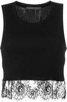 Alberta Ferretti lace-trim cropped top - women - Cotton - 46