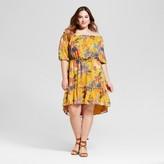 Ava & Viv Women's Plus Size Off The Shoulder Floral Dress Yellow