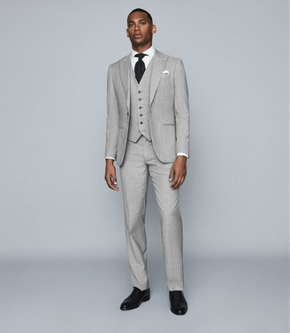 Reiss Trullo - Wool Slim Fit Blazer in Soft Grey