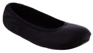 Isotoner Signature Isotoner Microsuede Embroidered Ballerina with 360 Surround Memory Foam Slipper, Online Only
